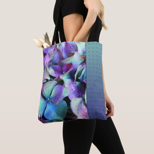 Colourful Purple & Teal Flowers Tote Bag