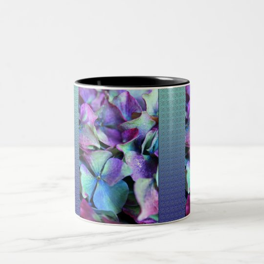 Colourful Purple & Teal Flowers Two-Tone Coffee Mug