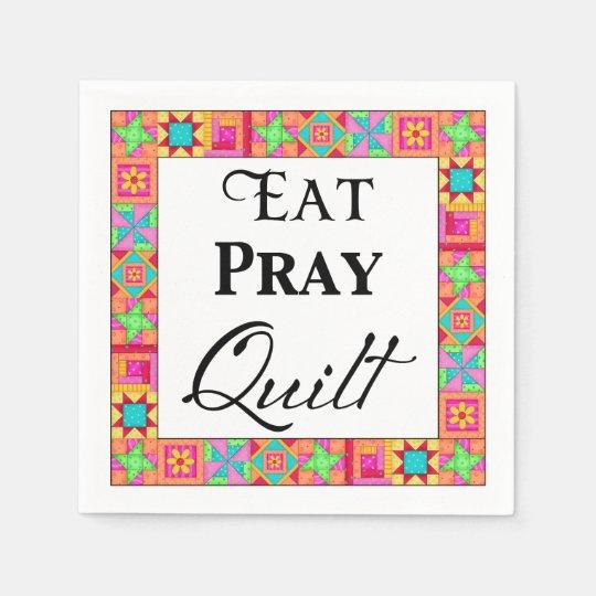 Colourful Quilt Blocks Border Art Eat Pray Quilt Paper Napkin