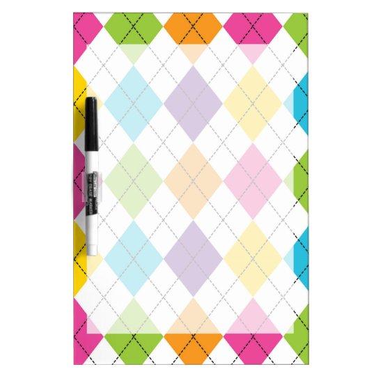Colourful Rainbow Argyle Diamond Pattern Teen Dry Erase Board