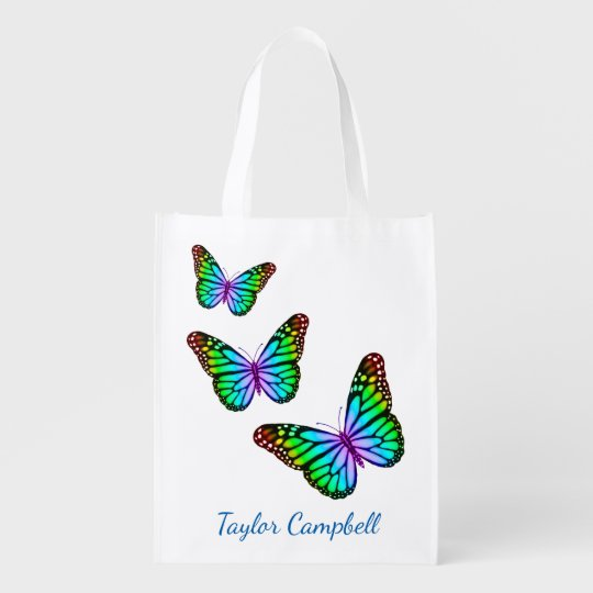 Colourful Rainbow Butterflies Reusable Grocery Bag