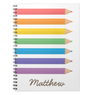 Colourful Rainbow Colouring Pencils School Kids Note Books