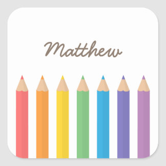 Colourful Rainbow Colouring Pencils School Kids Square Sticker