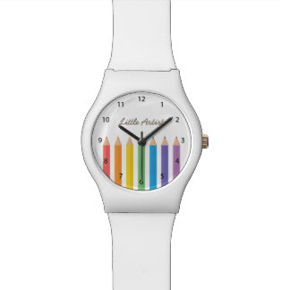 Colourful Rainbow Colouring Pencils School Kids Wrist Watches
