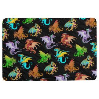 Colourful Rainbow Dragons School Floor Mat