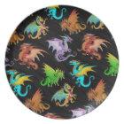 Colourful Rainbow Dragons School Plate