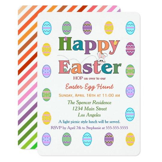 Colourful Rainbow Easter Egg Hunt Celebration Card