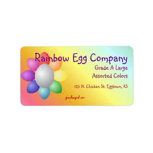 Colourful Rainbow Eggs Egg Carton Label