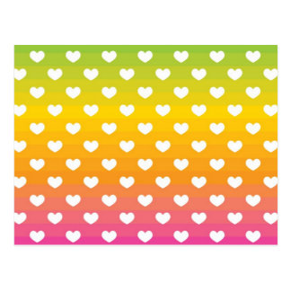Colourful Rainbow Hearts Pattern Gifts Postcard