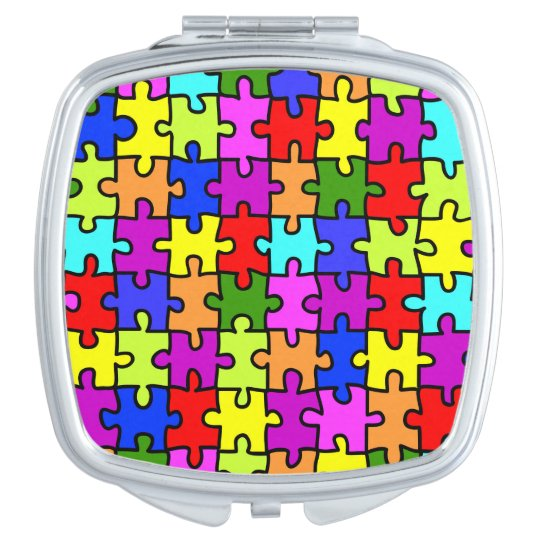 Colourful rainbow jigsaw puzzle pattern makeup mirrors