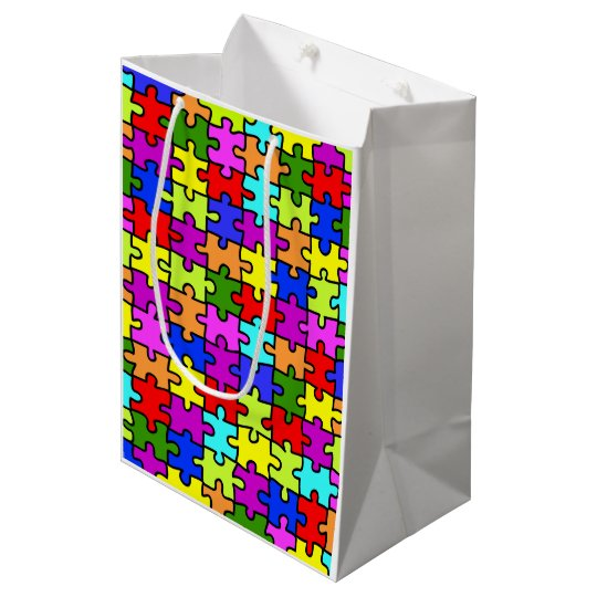 Colourful rainbow jigsaw puzzle pattern medium gift bag