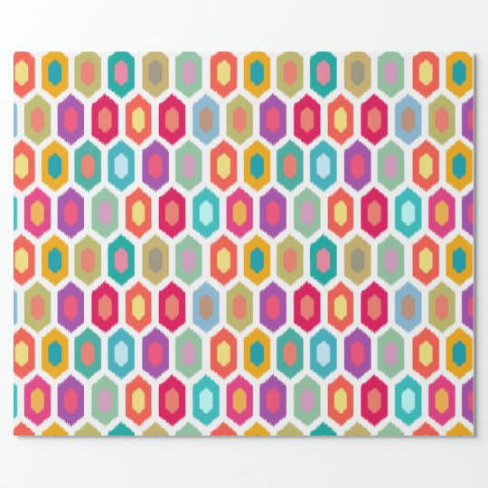 Colourful Rainbow Modern Ikat Tribal Pattern Wrapping Paper