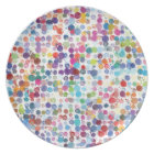 Colourful Rainbow Polka Dot Watercolor Plate