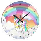 Colourful Rainbow Unicorn and Stars Large Clock