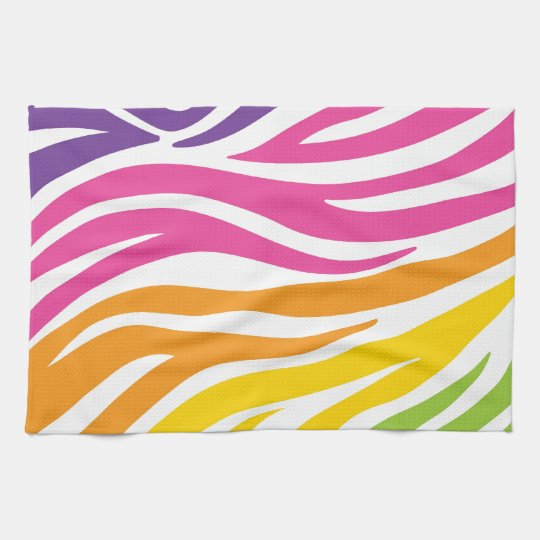 Colourful Rainbow Zebra Print Pattern Gifts Kitchen Towel