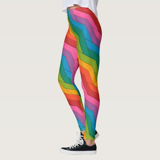Colourful Rainbow ZigZag Stripes Leggings