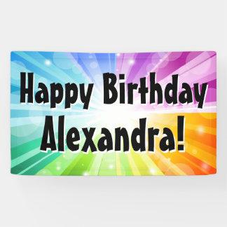 Colourful Rays Custom Birthday Party Banner