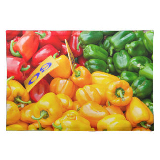 Colourful red, green and yellow capsicums placemat