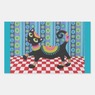 Colourful Retro Cat Sticker