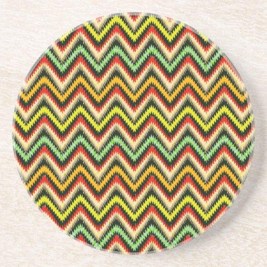 Colourful Retro Chevron Pattern Warm Tones Coaster