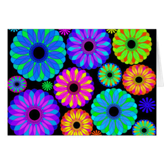 Colourful Retro Flower Patterns on Black Greeting Card