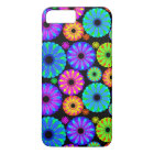 Colourful Retro Flower Patterns on Black Case-Mate iPhone Case