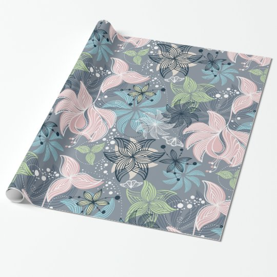 Colourful Retro Flowers Pattern Wrapping Paper