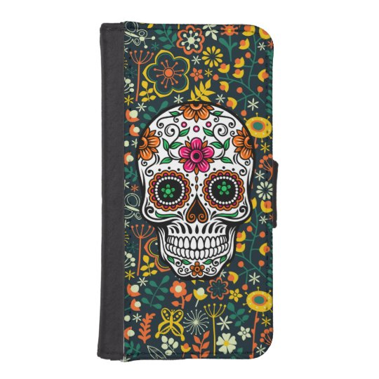 Colourful Retro Flowers Sugar Skull iPhone SE/5/5s Wallet Case