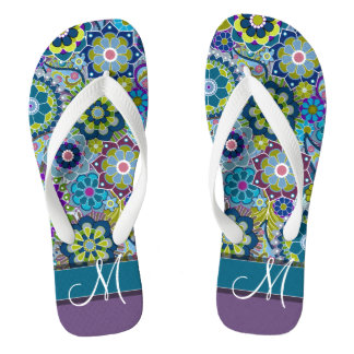 Colourful Retro Flowers with Monogram Flip Flops