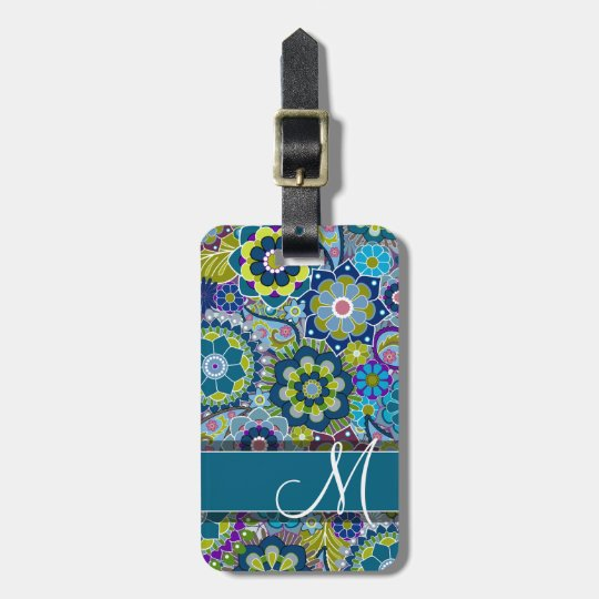 Colourful Retro Flowers with Monogram Luggage Tag