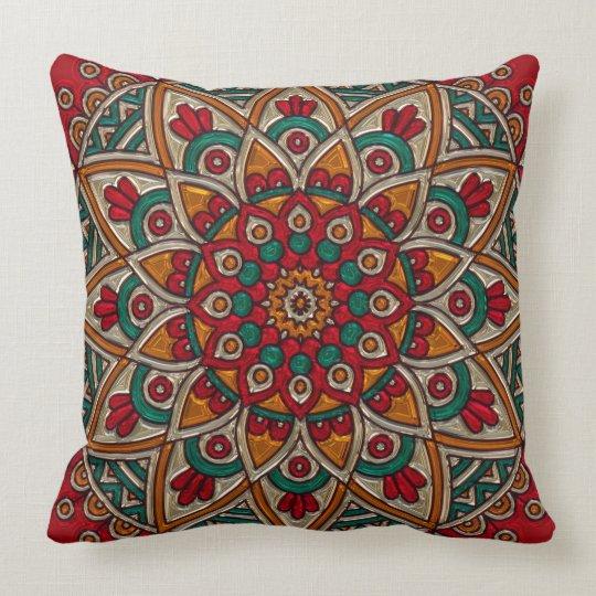 Colourful Retro Mosaic Art Throw Pillow