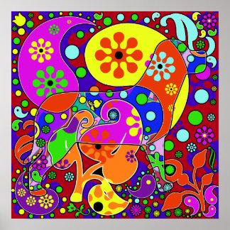 Colourful Retro Paisley Pop Art Dog Poster