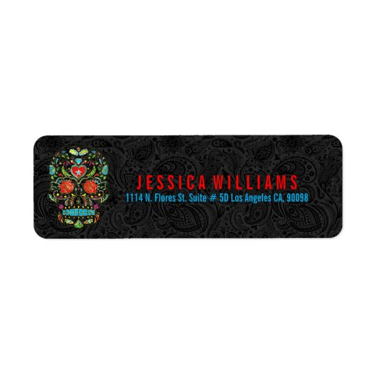 Colourful Retro Sugar Skull 3 On Black Damasks Return Address Label