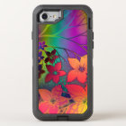 Colourful Retro Tie-Dye Rainbow Floral Pattern OtterBox Defender iPhone 8/7 Case