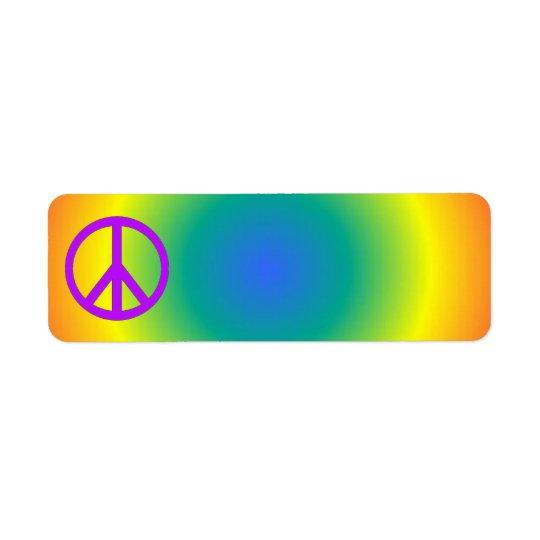 Colourful return address Peace sticker