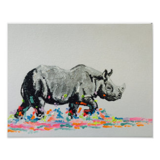 Colourful Rhino Poster