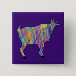 Colourful Ribbons Funny Goat Animal Art Design 2 Inch Square Button