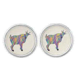 Colourful Ribbons Funny Goat Animal Art Design Cufflinks