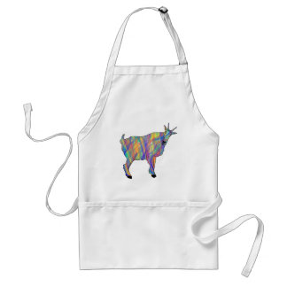 Colourful Ribbons Funny Goat Animal Art Design Standard Apron