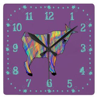 Colourful Ribbons Funny Goat Animal Art Design Wallclocks