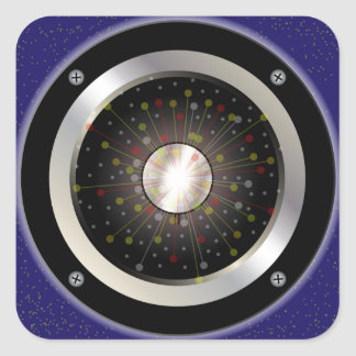 Colourful Rock Guitar Speaker Square Sticker