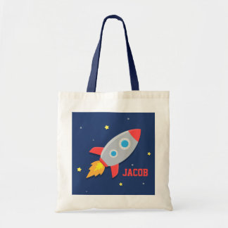 Colourful Rocket Ship, Outer Space, For Boys Tote Bag