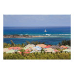 Colourful rooftops overlooking the Caribbean Sea Poster
