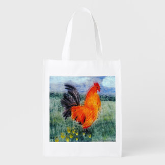 Colourful Rooster Chicken Reusable Grocery Bag