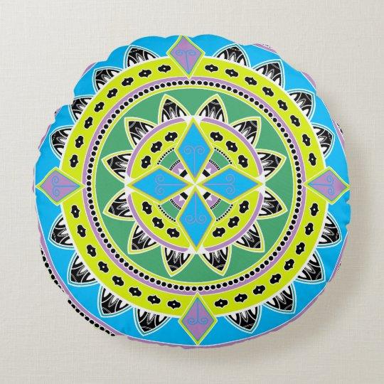 Colourful Round Mandala Pillow