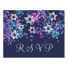 Colourful RSVP Silver Star Glittery Confetti Card