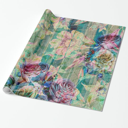 Colourful Rustic Flowers Pattern Wrapping Paper