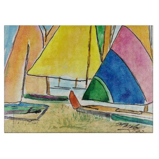 Colourful Sailboats On Beach Cutting Board