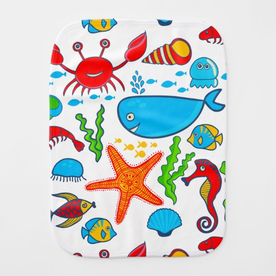 Colourful Sea-life Illustration Pattern Burp Cloths