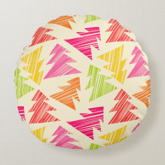 Colourful Sketchy Christmas Trees Pattern Round Pillow
